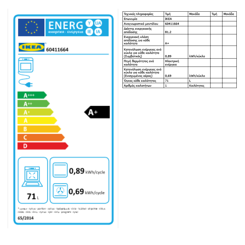 Energy Label Of: 60411664